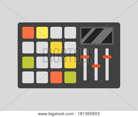 Creative modern musical instruments concept midi launchpad isolated cable club commutation delayed dj drum equipment. Acoustic art concert equipment.