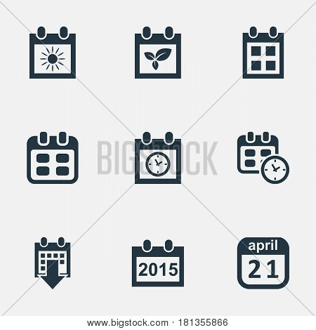 Vector Illustration Set Of Simple Date Icons. Elements Planner, Summer Calendar, Date And Other Synonyms Agenda, Day And Plant.