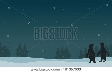 Silhouette of snow with penguin scenery vector illustration