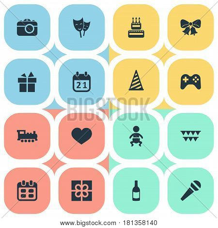 Vector Illustration Set Of Simple Birthday Icons. Elements Special Day, Ribbon, Box And Other Synonyms Theater, Photography And Resonate.