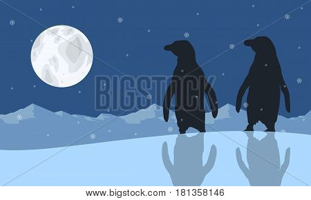 Illustration vector of penguin scenery collection stock