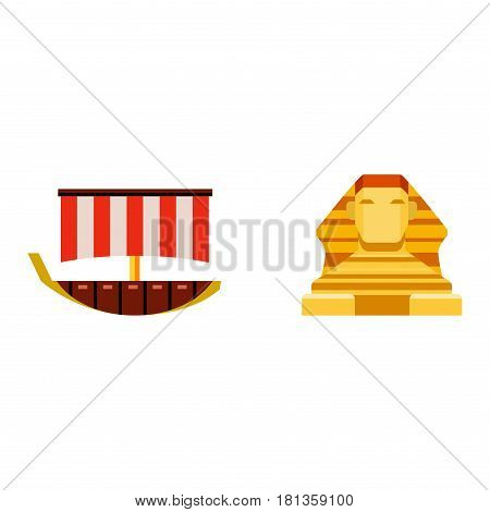 Vector flat design egypt travel icon pharaoh head element illustration. Landmarks culture ancient history africa pyramid sign egypt icons collection scarab silhouette.