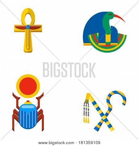Set of vector flat design egypt travel icons infographics elements illustration. Landmarks culture ancient history africa pyramid sign egypt icons collection scarab silhouette.