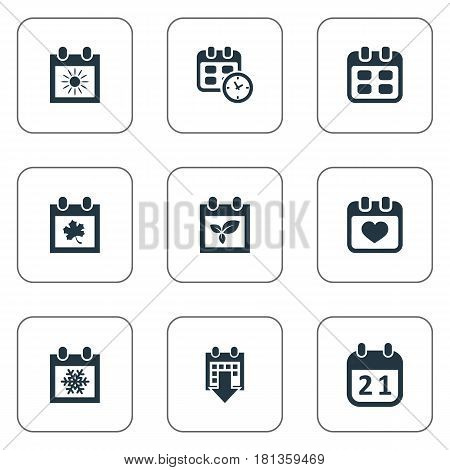 Vector Illustration Set Of Simple Plan Icons. Elements Snowflake, Agenda, History And Other Synonyms Date, Calendar And Winter.