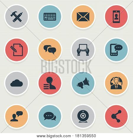 Vector Illustration Set Of Simple Newspaper Icons. Elements Man Considering, Profile, Notepad And Other Synonyms Laptop, Repair And Epistle.