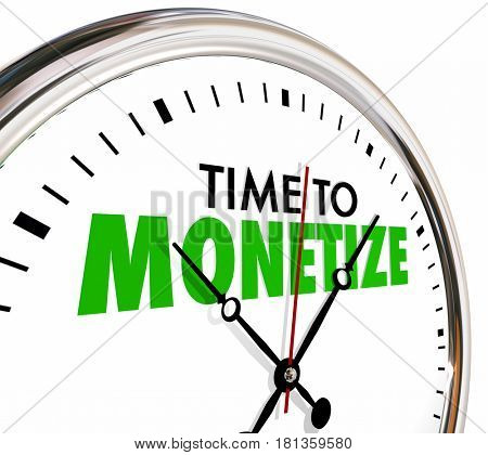 Time to Monetize Clock Earn Money Revenue Model 3d Illustration