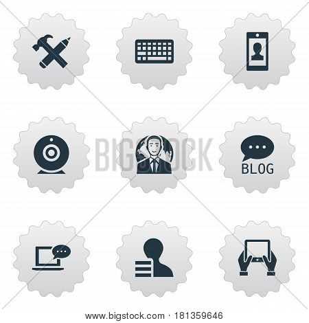 Vector Illustration Set Of Simple Blogging Icons. Elements International Businessman, Keypad, Repair And Other Synonyms Profit, Man And Broadcast.