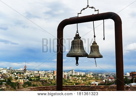 Bell Of St. Nicolas Church In Narikala Fortress. Tbilisi. Georgia.
