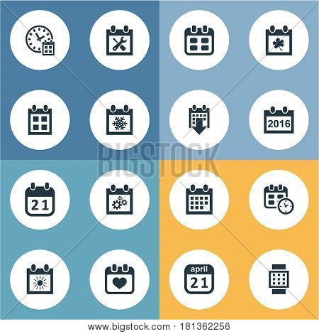 Vector Illustration Set Of Simple Time Icons. Elements History, Agenda, Snowflake And Other Synonyms April, Snowflake And Data.