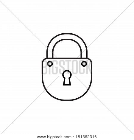 Black line simple padlock vector icon for web