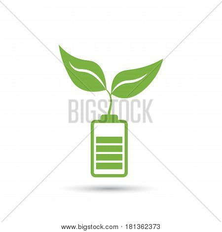 Green plant sprouting on battery. Energy based on ecology concept