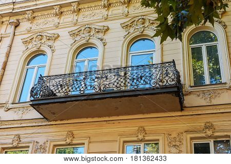 Old Balcony Of House In Tbilisi Georgia.