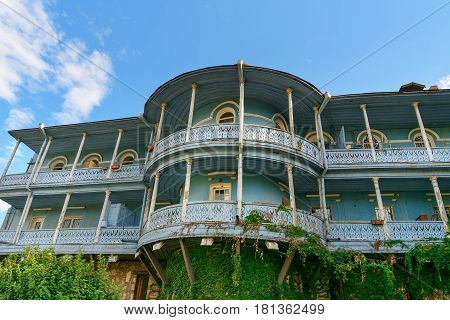 Сarved Wooden Balcony In Tbilisi Georgia.