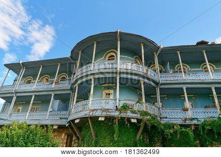 Сarved Wooden Balcony In Tbilisi Georgia.