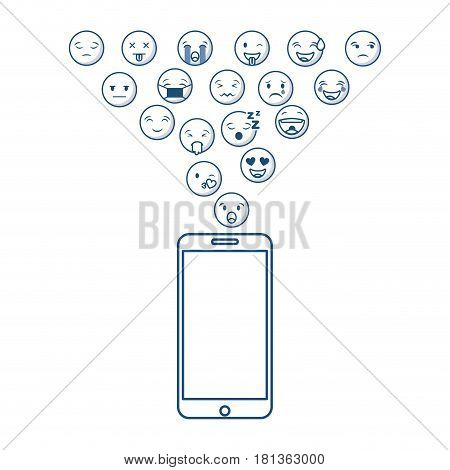 smartphone with cartoon faces around over white background. vector illustration