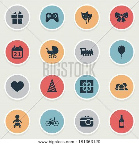 Vector Illustration Set Of Simple Birthday Icons. Elements Aerostat, Domestic, Bicycle And Other Synonyms Train, Steam And Domestic.