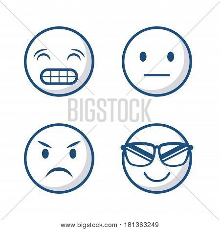 cartoon faces icon set over white background. vector illustration