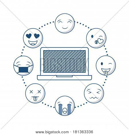 monitor computer with cartoon faces around over white background. vector illustration