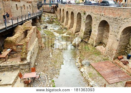 River In Abanotubani District In The Old Town Of Tbilisi. Georgia