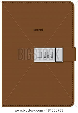 Secret diary for entries in leather binding with a digital lock.