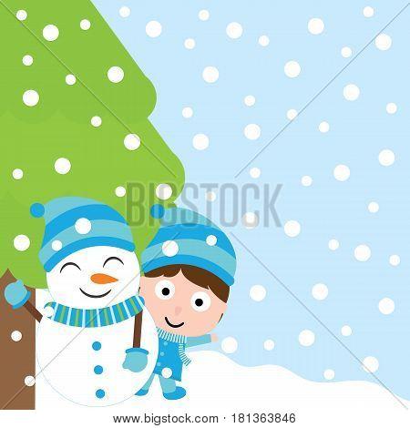 Cute boy and snowman under Xmas tree vector carton for Xmas postcard, wallpaper, greeting card, vector illustration