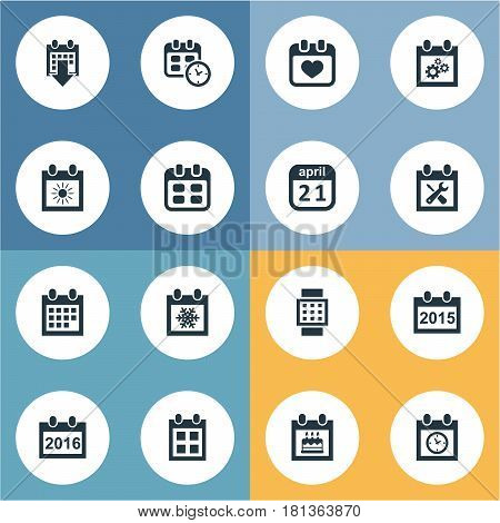 Vector Illustration Set Of Simple Calendar Icons. Elements Almanac, Date Block, 2016 Calendar And Other Synonyms Wheel, Date And Annual.