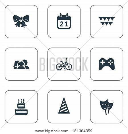 Vector Illustration Set Of Simple Celebration Icons. Elements Resonate, Special Day, Domestic And Other Synonyms Family, People And Resonate.