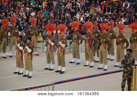Show The Closure Of The Border Between India And Pakistan. Ceremony From India.