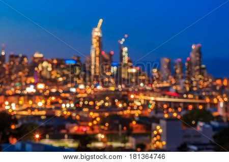 Blurred City Lights Of San Francisco Skyline At Night