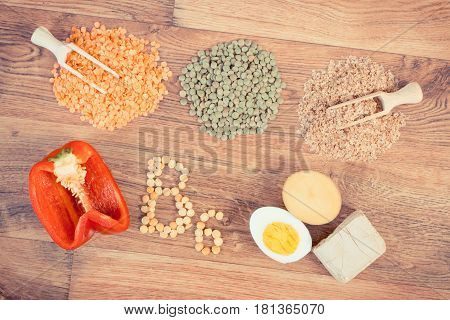 Vintage Photo, Ingredients Containing Vitamin B6 And Dietary Fiber, Concept Of Healthy Food