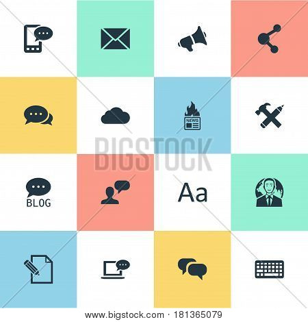 Vector Illustration Set Of Simple Blogging Icons. Elements Cedilla, Site, Laptop And Other Synonyms Discussion, Overcast And Cedilla.