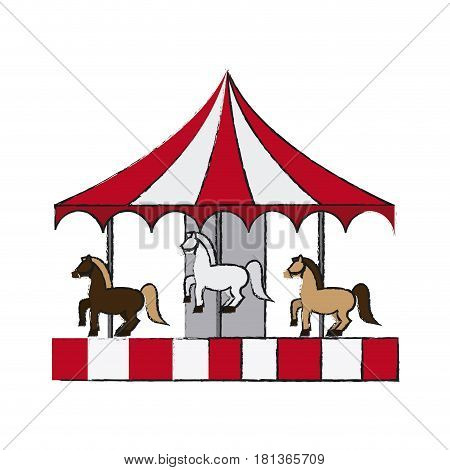 circus carousel icon over white background. vector illustration