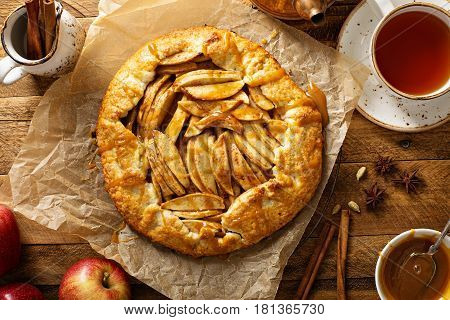 Apple and salted caramel rustic galette, free form pie
