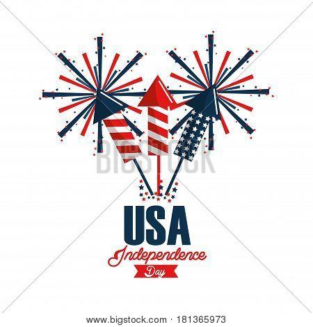 independence day with fireworks celebration, vector illustration