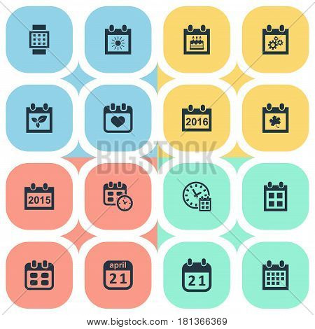 Vector Illustration Set Of Simple Plan Icons. Elements Remembrance, Agenda, Event And Other Synonyms Birthday, Spring And Calendar.