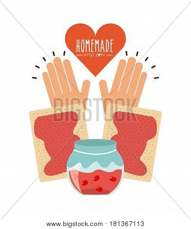 hand with cookies and jam icon over white background. homemade with love concept. colorful design. vector illustration