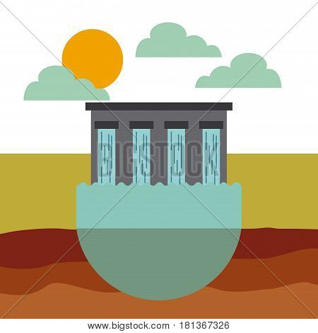hydroelectric station plant water dam icon. colorful design. vector illustration