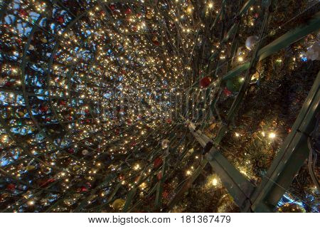 Christmas Tree interior artificial vast array of lights and metal rings