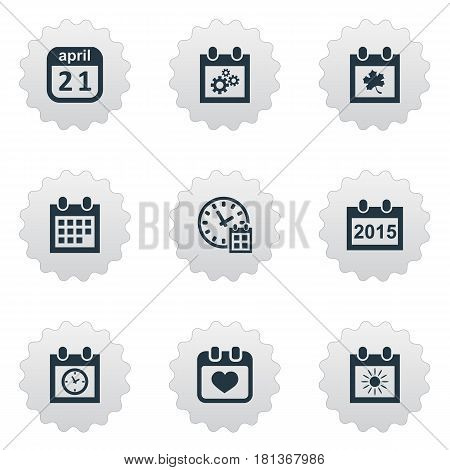 Vector Illustration Set Of Simple Date Icons. Elements Summer Calendar, Planner, Almanac And Other Synonyms Sun, Almanac And Heart.