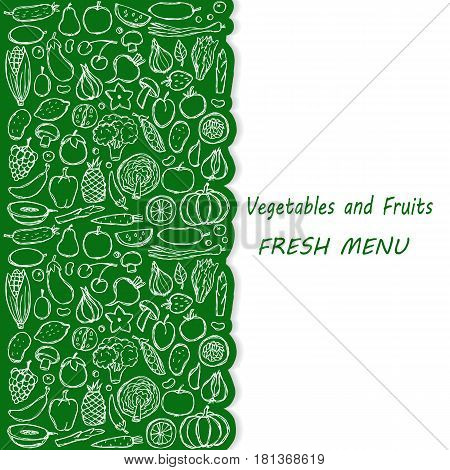 Menu cover of vegetarian hand drawn doodle food elements. Vector illustration for backgrounds, covers, posters, menu with place for text.