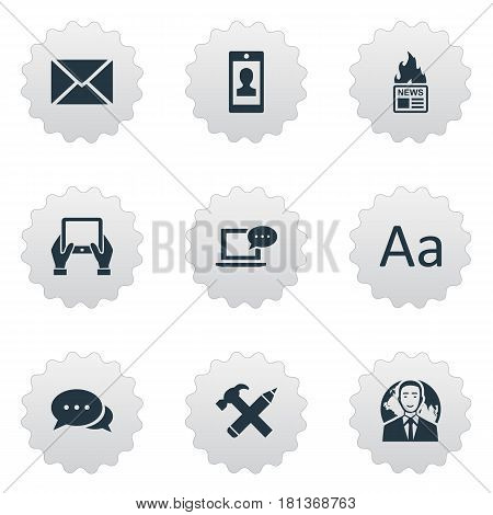 Vector Illustration Set Of Simple User Icons. Elements Notepad, Argument, Repair And Other Synonyms Alphabet, Post And Gazette.