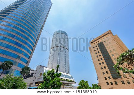 COLOMBO SRI LANKA - MARCH 24 2016: World Trade Center and Bank of Ceylon buildings are the tall building in Colombo Colombo is prime business and office space of Sri Lanka.