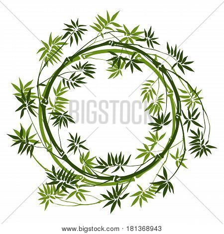 Green bamboo round frame on white background. Tropical mock up, nature textile print, template with text place.