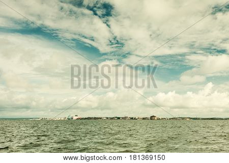 Beautiful seascape sea horizon coastline and sky. Tranquil scene. Natural composition of nature. Landscape.