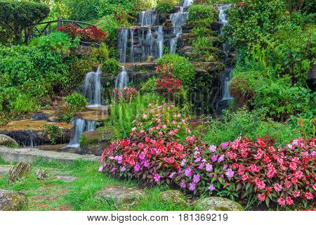 Close up of landscaping with waterfall and flowers