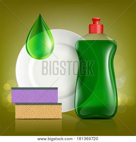 Plastic bottle with soap for washing utensils plate and sponge. Stock vector illustration.