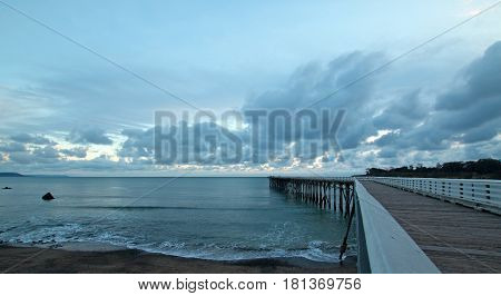 San Simeon Pier under sunset clouds on the Central Coast of California USA