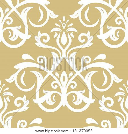 Seamless classic golden and white pattern. Traditional orient ornament