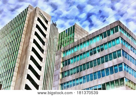 Colorful painting of modern office building, Aragon, Spain