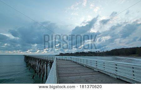 San Simeon Public Pier at sunset on the Central Coast of California